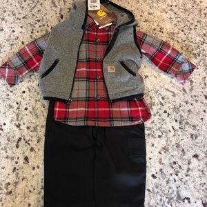 Carhartt 3 piece set. Plaid shirt - vest - pants